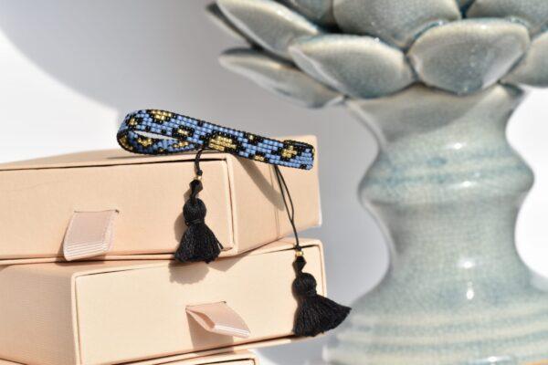 Bransoletka tkana, niebieska pantera2
