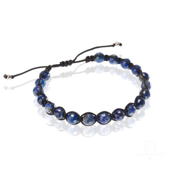 Bransoletka męska na czarnym sznurku, przeplatana naturalnym kamieniem Lapis Lazuli.