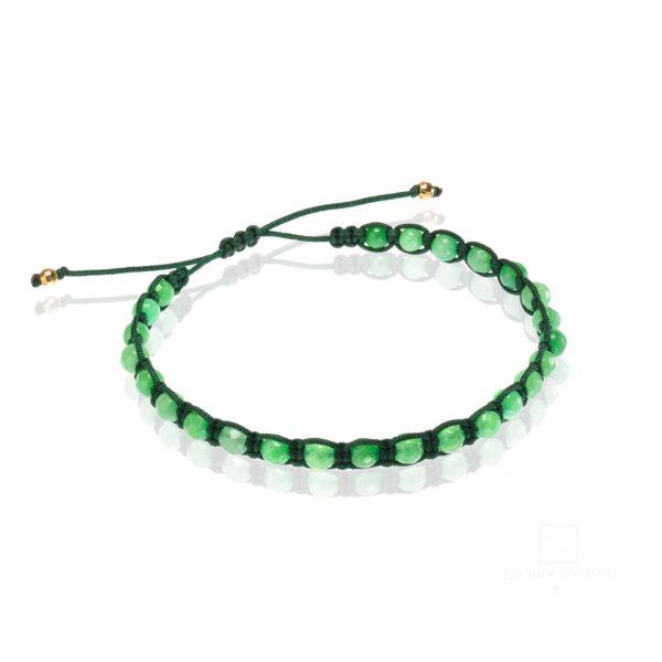 Bransoletka męska na ciemnym zielonym sznurku z zielonym jadeitem