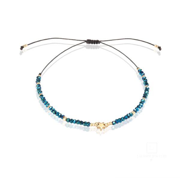 Bransoletka na cienkim sznureczku z niebieskimi kryształkami i hematytem