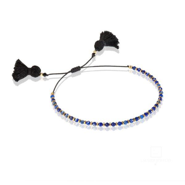 Bransoletka na cienkim sznurku z naturalnymi kamieniami Lapis Lazuli i hematytami
