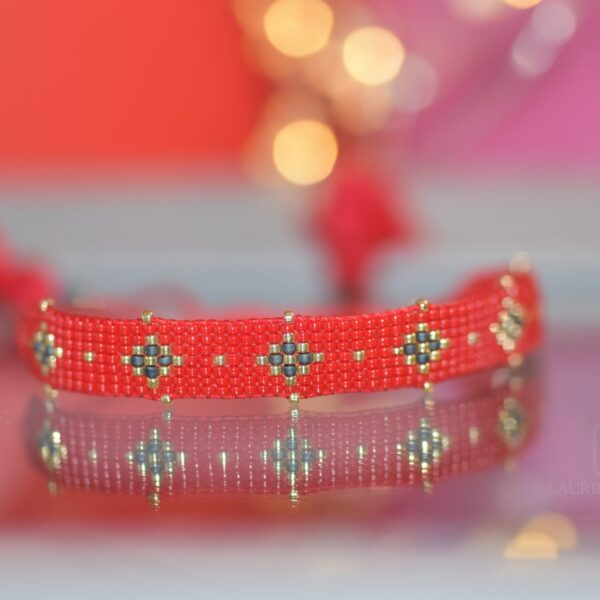 Bransoletka tkana, cherry shine red one2